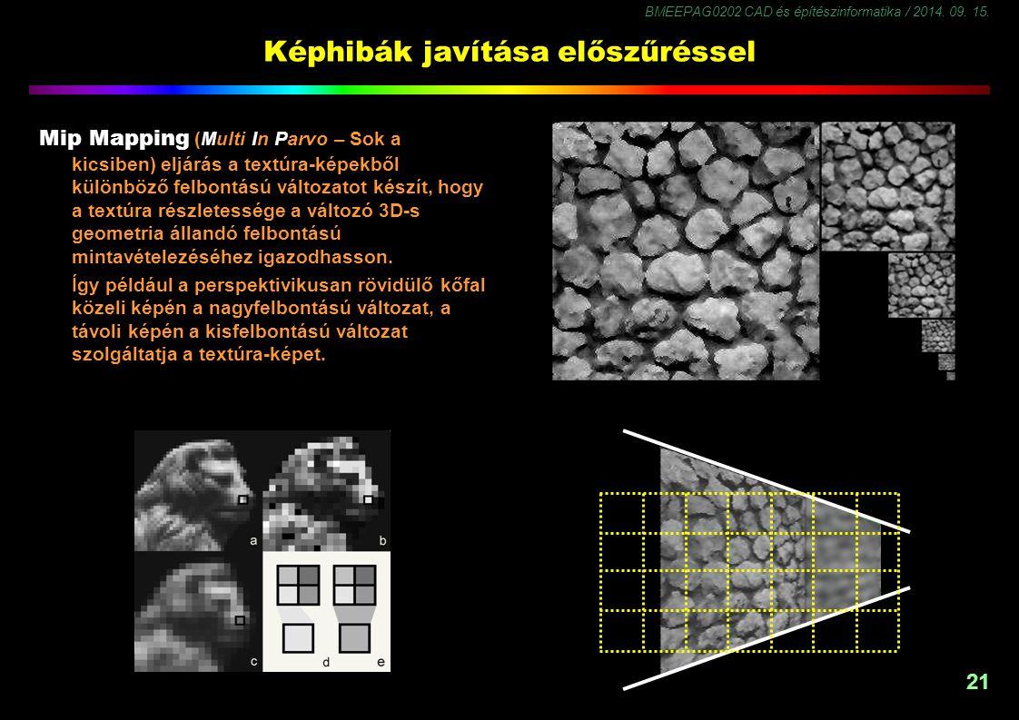BMEEPAG0202 CAD és építészinformatika / 2014. 09. 15. 21 Képhibák javítása előszűréssel Mip Mapping (Multi In Parvo – Sok a kicsiben) eljárás a textúr