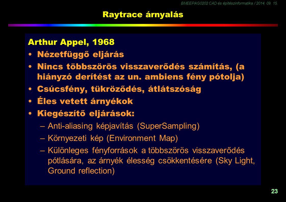 BMEEPAG0202 CAD és építészinformatika / 2014. 09. 15. 23 Raytrace árnyalás Arthur Appel, 1968 Nézetfüggő eljárás Nincs többszörös visszaverődés számít