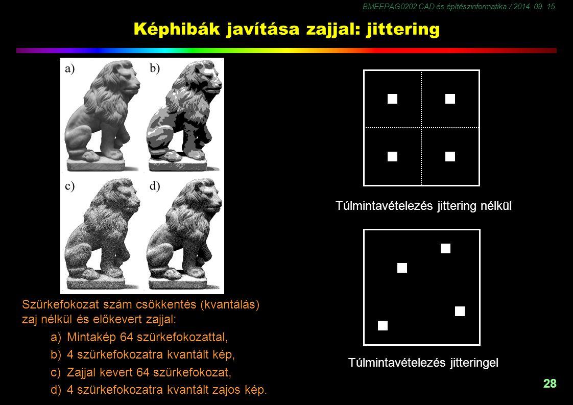 BMEEPAG0202 CAD és építészinformatika / 2014. 09. 15. 28 Képhibák javítása zajjal: jittering Szürkefokozat szám csökkentés (kvantálás) zaj nélkül és e