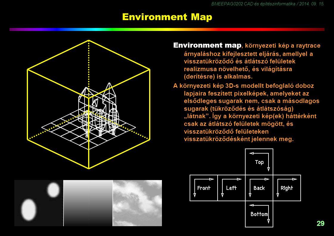 BMEEPAG0202 CAD és építészinformatika / 2014. 09. 15. 29 Environment Map Environment map, környezeti kép a raytrace árnyaláshoz kifejlesztett eljárás,
