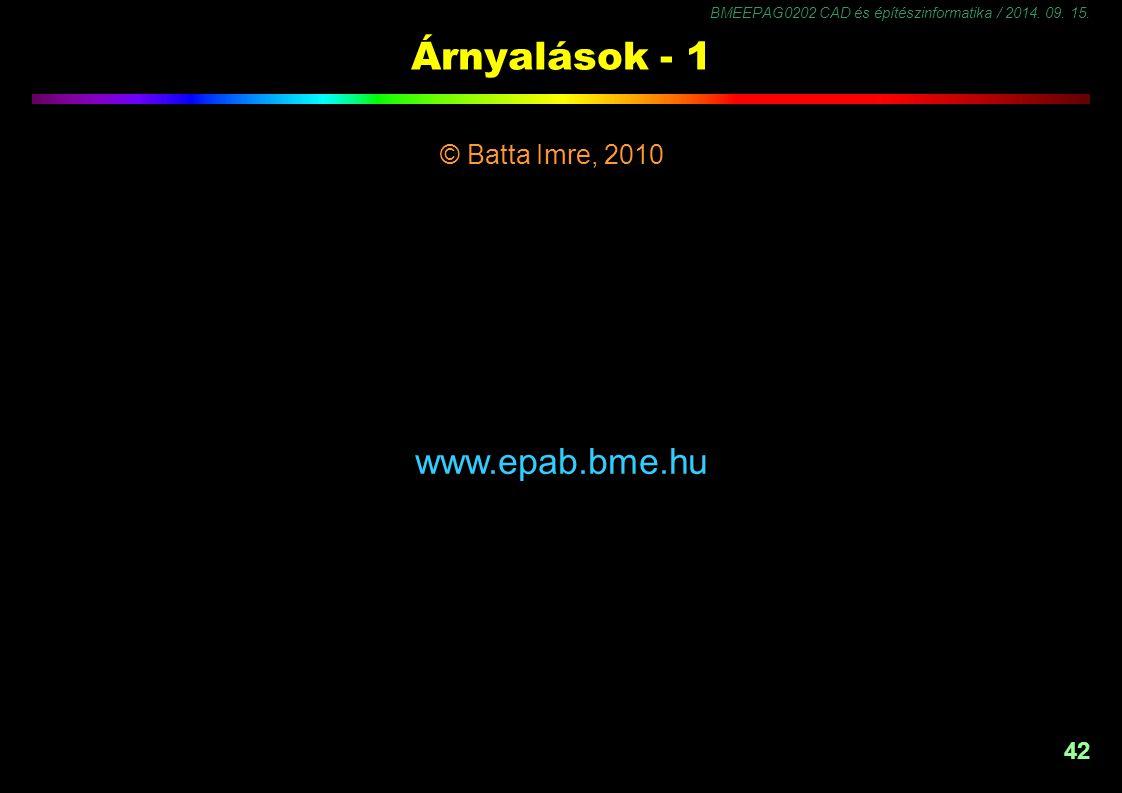 42 Árnyalások - 1 © Batta Imre, 2010 -1,5 www.epab.bme.hu