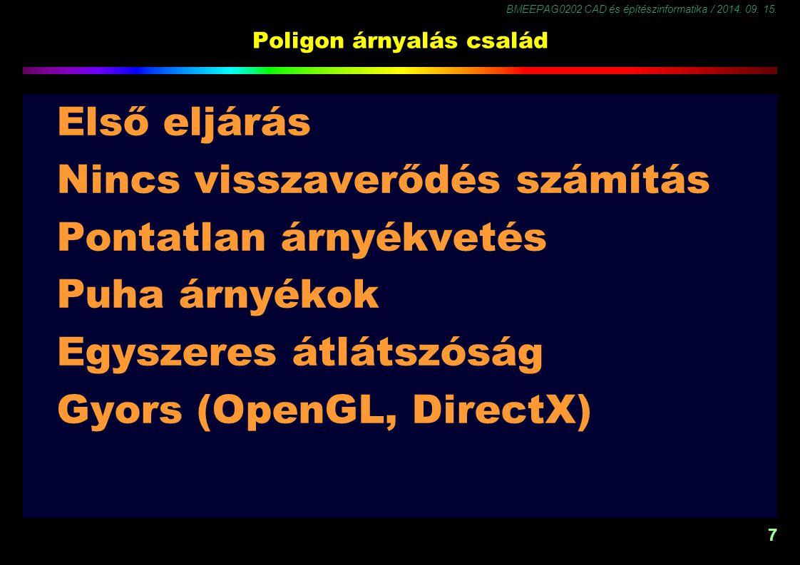BMEEPAG0202 CAD és építészinformatika / 2014. 09. 15. 7 Poligon árnyalás család Első eljárás Nincs visszaverődés számítás Pontatlan árnyékvetés Puha á