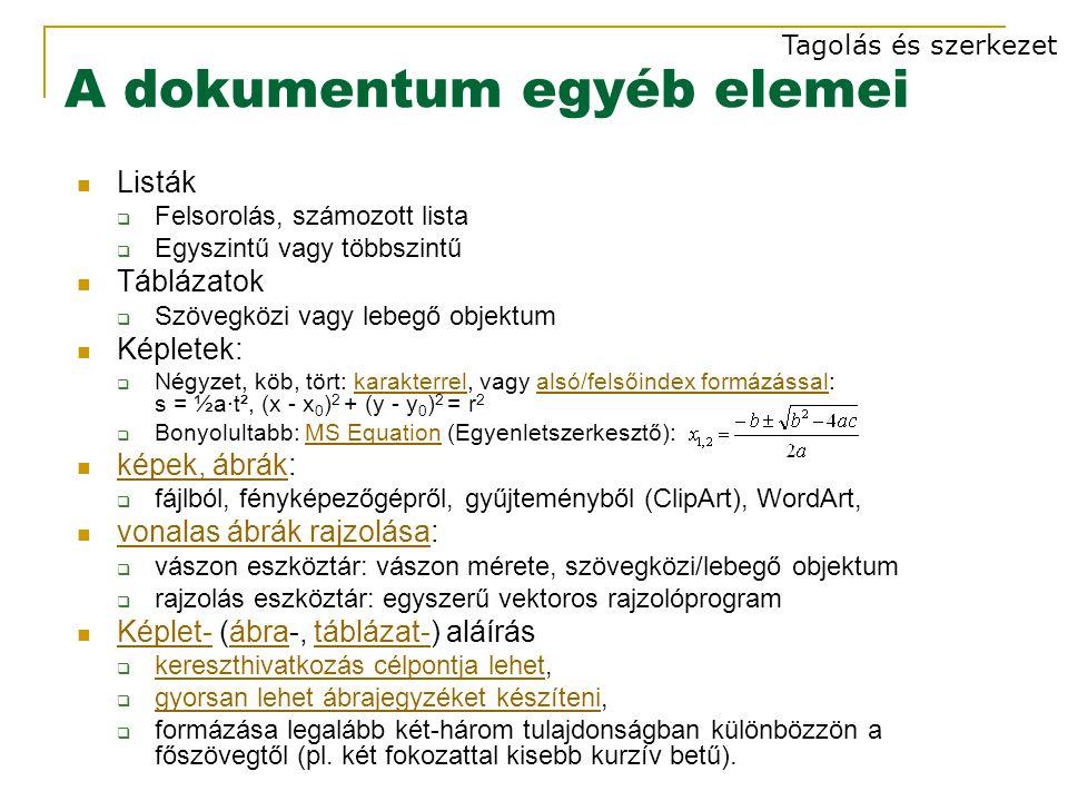 A dokumentum egyéb elemei Listák  Felsorolás, számozott lista  Egyszintű vagy többszintű Táblázatok  Szövegközi vagy lebegő objektum Képletek:  Négyzet, köb, tört: karakterrel, vagy alsó/felsőindex formázással: s = ½a·t², (x - x 0 ) 2 + (y - y 0 ) 2 = r 2karakterrelalsó/felsőindex formázással  Bonyolultabb: MS Equation (Egyenletszerkesztő):MS Equation képek, ábrák: képek, ábrák  fájlból, fényképezőgépről, gyűjteményből (ClipArt), WordArt, vonalas ábrák rajzolása: vonalas ábrák rajzolása  vászon eszköztár: vászon mérete, szövegközi/lebegő objektum  rajzolás eszköztár: egyszerű vektoros rajzolóprogram Képlet- (ábra-, táblázat-) aláírás Képlet-ábratáblázat-  kereszthivatkozás célpontja lehet, kereszthivatkozás célpontja lehet  gyorsan lehet ábrajegyzéket készíteni, gyorsan lehet ábrajegyzéket készíteni  formázása legalább két-három tulajdonságban különbözzön a főszövegtől (pl.