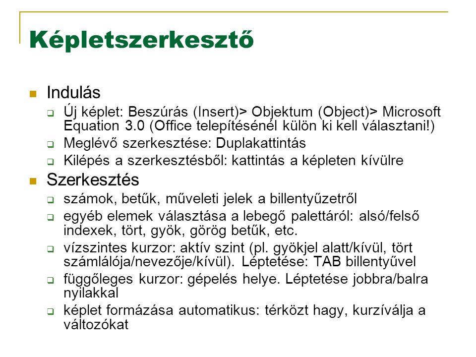 Képletszerkesztő Indulás  Új képlet: Beszúrás (Insert)> Objektum (Object)> Microsoft Equation 3.0 (Office telepítésénél külön ki kell választani!)  Meglévő szerkesztése: Duplakattintás  Kilépés a szerkesztésből: kattintás a képleten kívülre Szerkesztés  számok, betűk, műveleti jelek a billentyűzetről  egyéb elemek választása a lebegő palettáról: alsó/felső indexek, tört, gyök, görög betűk, etc.