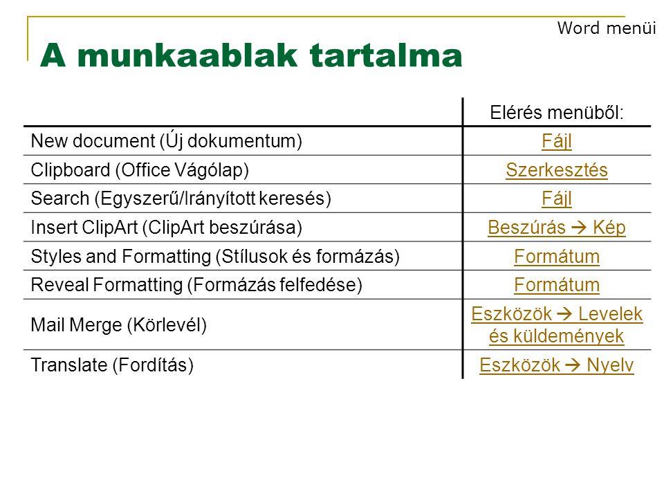 A munkaablak tartalma Elérés menüből: New document (Új dokumentum)Fájl Clipboard (Office Vágólap)Szerkesztés Search (Egyszerű/Irányított keresés)Fájl Insert ClipArt (ClipArt beszúrása)Beszúrás  Kép Styles and Formatting (Stílusok és formázás)Formátum Reveal Formatting (Formázás felfedése)Formátum Mail Merge (Körlevél) Eszközök  Levelek és küldemények Translate (Fordítás)Eszközök  Nyelv Word menüi