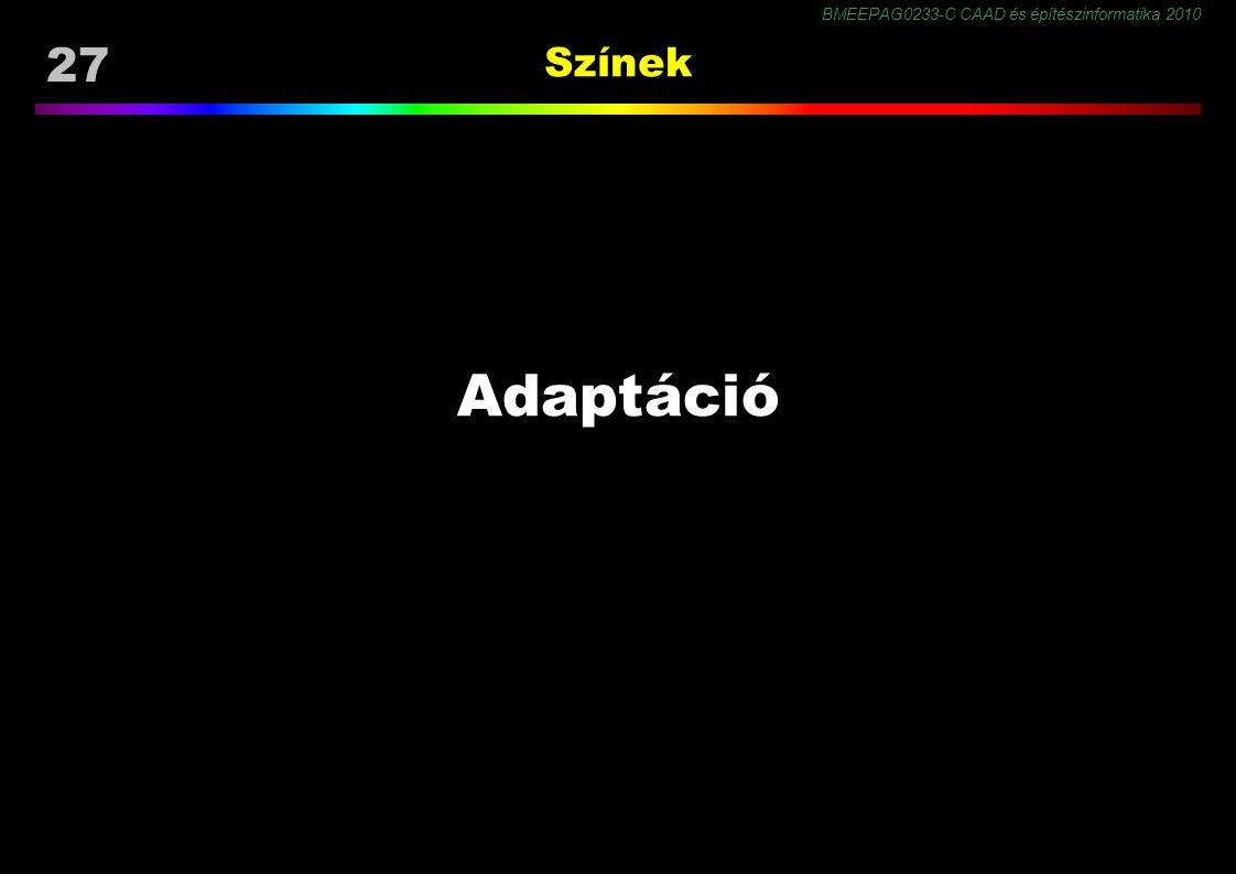 BMEEPAG0233-C CAAD és építészinformatika 2010 27 Színek Adaptáció