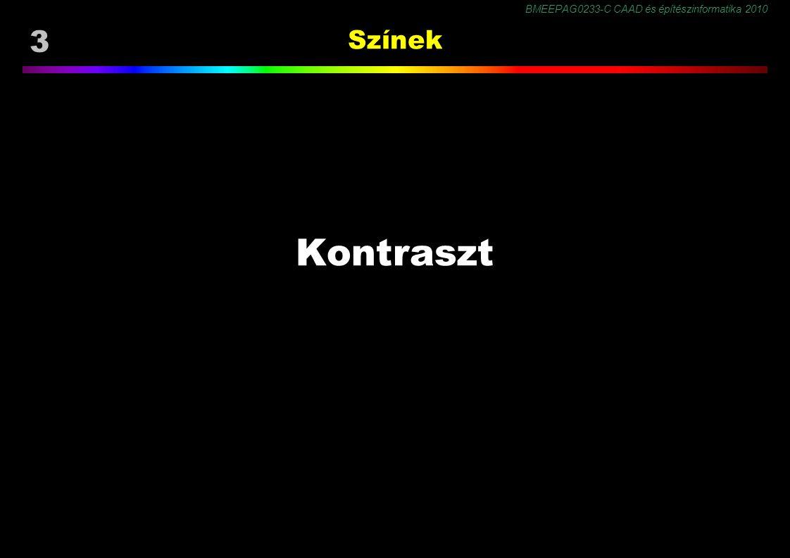 BMEEPAG0233-C CAAD és építészinformatika 2010 54 Színmegjelenés Helmholtz-Kohlrausch hatás Az R, K és H csap érzékenysége különböző, ezért a színek világossága azonos fénysűrűség mellett különböző (heterokromatikus világosság).