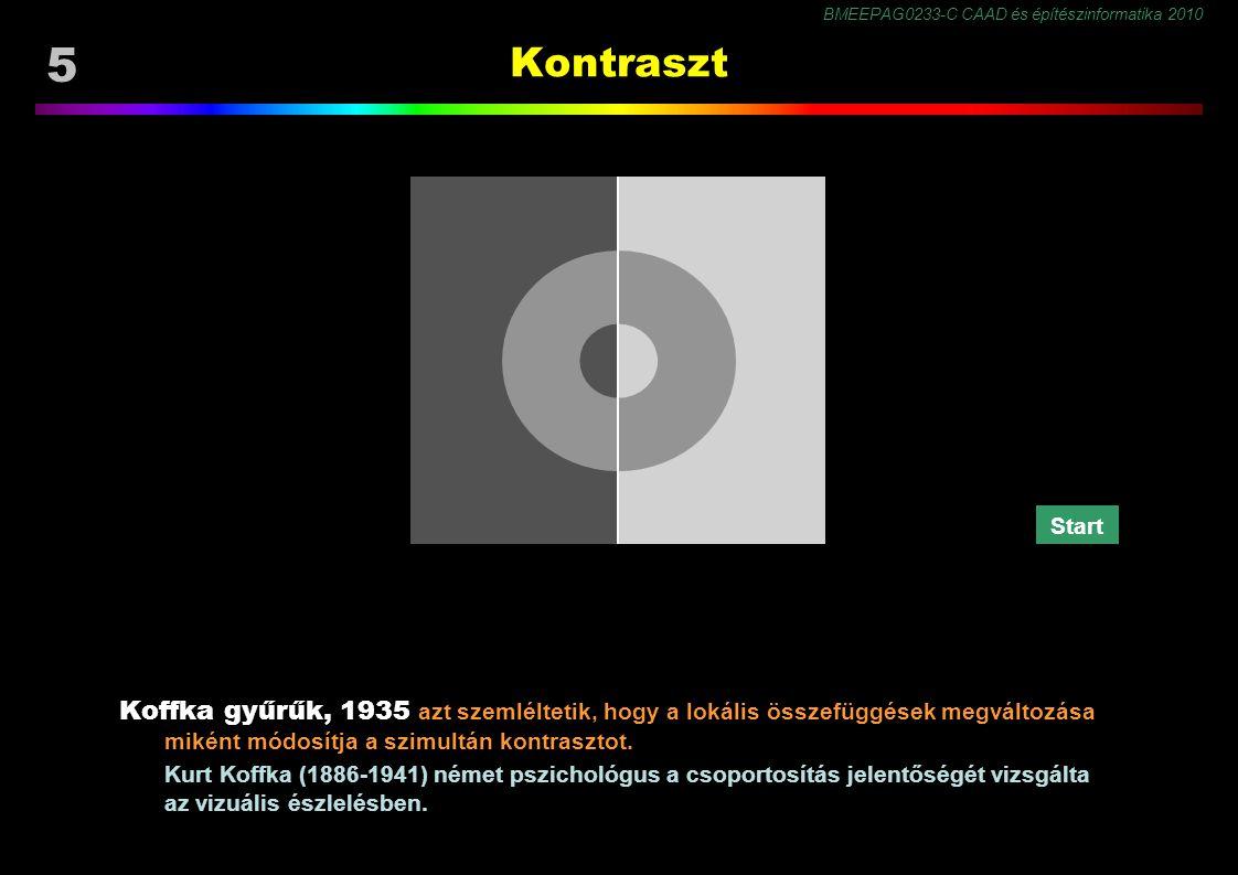 BMEEPAG0233-C CAAD és építészinformatika 2010 56 Színmegjelenés Látvány jellemzői ● környezet és háttér ● részletesség (felbontás) ● árnyalatszám ● szín- és világosságterjedelem ● kontraszt ● képi tartalom ● zavaró mintázat (zaj) Látási feltételek ● látási közeg (zaj) ● látási távolság (felbontás) ● adaptáltság a látvány fény- és színviszonyaihoz ● figyelem, várakozás ● emlékek, tapasztalat, tanultak a Megjelenés (belső kép) paraméterei:
