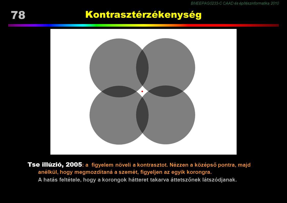 BMEEPAG0233-C CAAD és építészinformatika 2010 78 Kontrasztérzékenység Tse illúzió, 2005 : a figyelem növeli a kontrasztot. Nézzen a középső pontra, ma