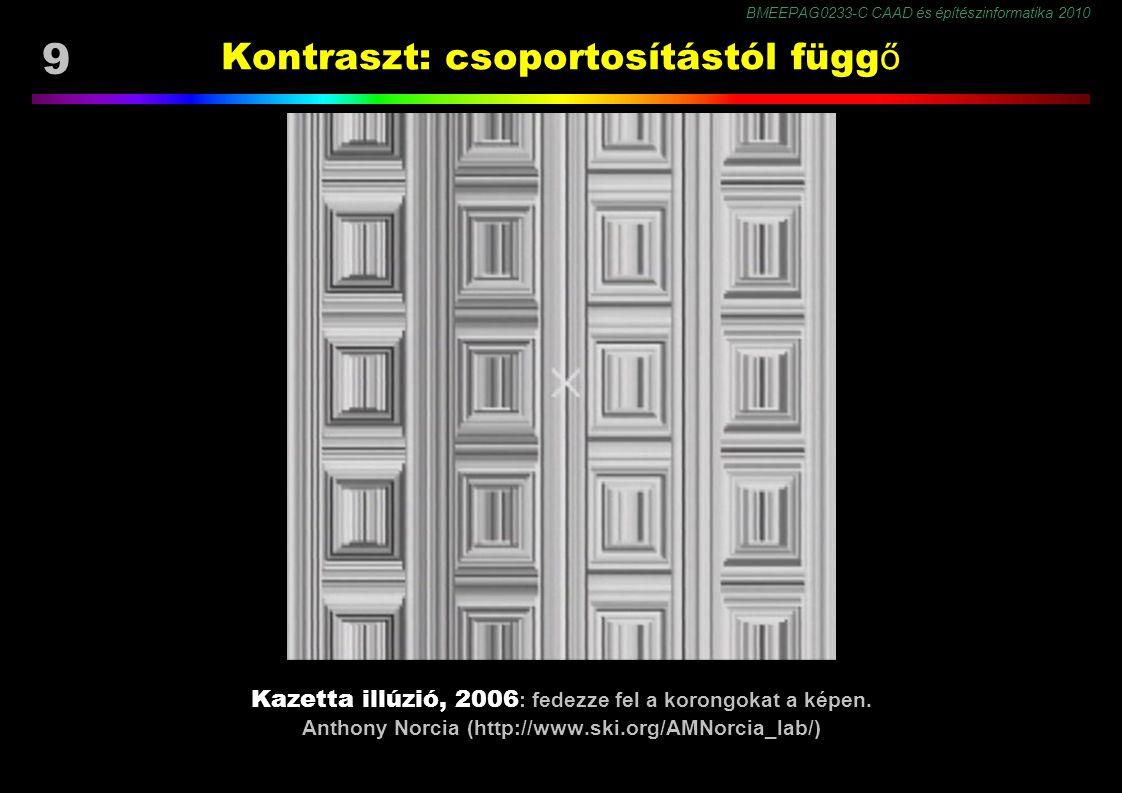 BMEEPAG0233-C CAAD és építészinformatika 2010 20 Színkontraszt Egyidejű (szimultán) színkontraszt : a kontraszthatás a világosság kontraszthoz képest sokkal gyengébb.