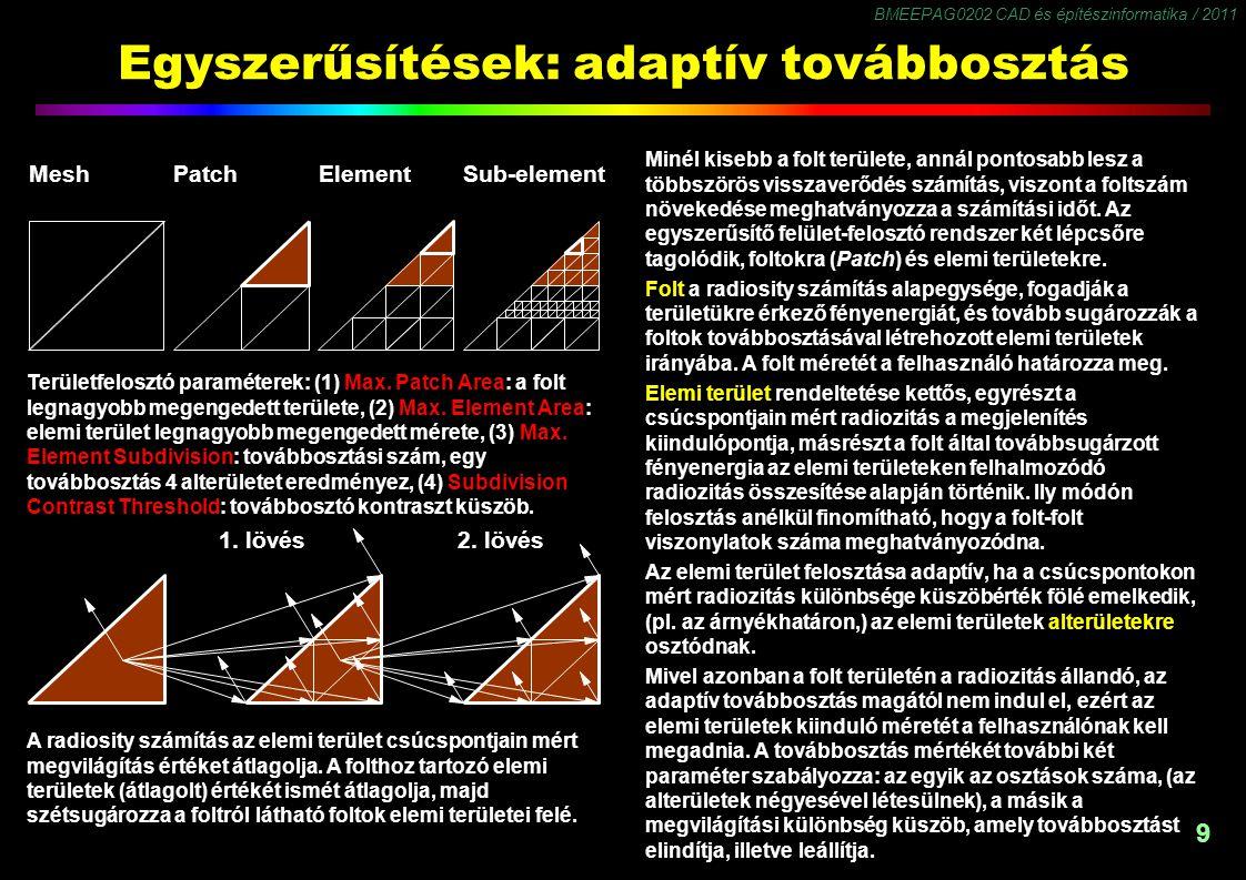 BMEEPAG0202 CAD és építészinformatika / 2011 9 Egyszerűsítések: adaptív továbbosztás Minél kisebb a folt területe, annál pontosabb lesz a többszörös v