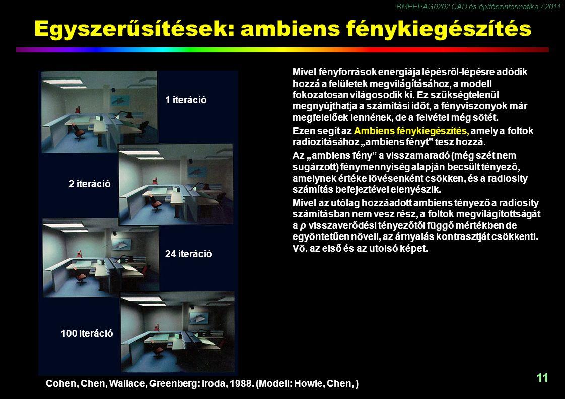 BMEEPAG0202 CAD és építészinformatika / 2011 11 Egyszerűsítések: ambiens fénykiegészítés Mivel fényforrások energiája lépésről-lépésre adódik hozzá a