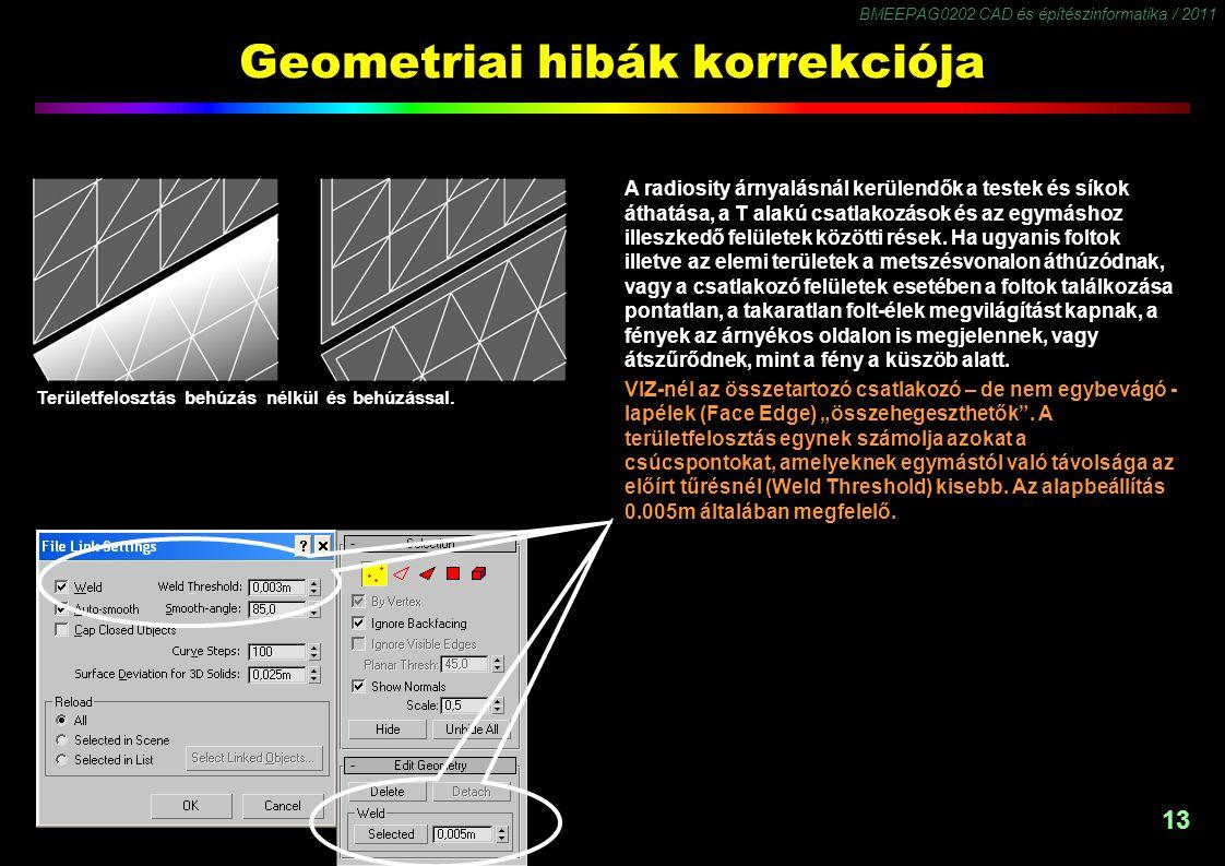BMEEPAG0202 CAD és építészinformatika / 2011 13 Geometriai hibák korrekciója A radiosity árnyalásnál kerülendők a testek és síkok áthatása, a T alakú