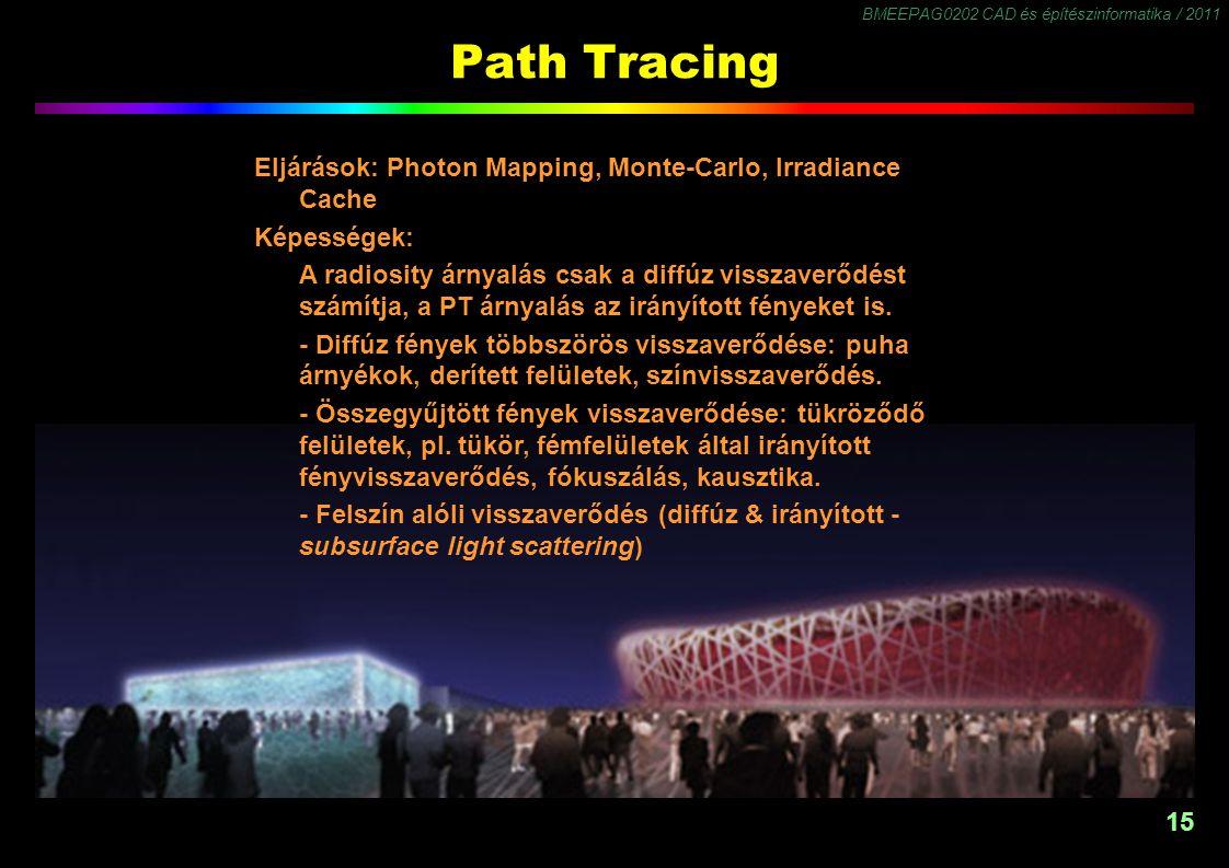BMEEPAG0202 CAD és építészinformatika / 2011 15 Path Tracing Eljárások: Photon Mapping, Monte-Carlo, Irradiance Cache Képességek: A radiosity árnyalás