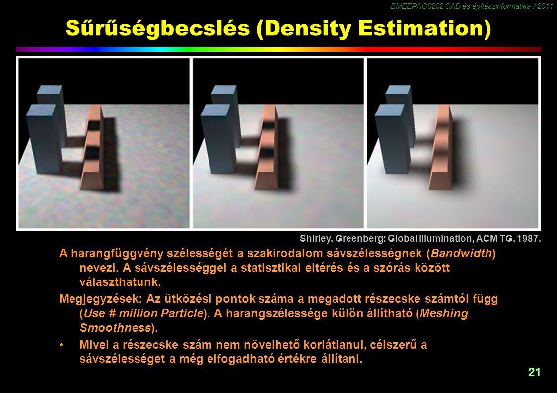 BMEEPAG0202 CAD és építészinformatika / 2011 21 Sűrűségbecslés (Density Estimation) A harangfüggvény szélességét a szakirodalom sávszélességnek (Bandw