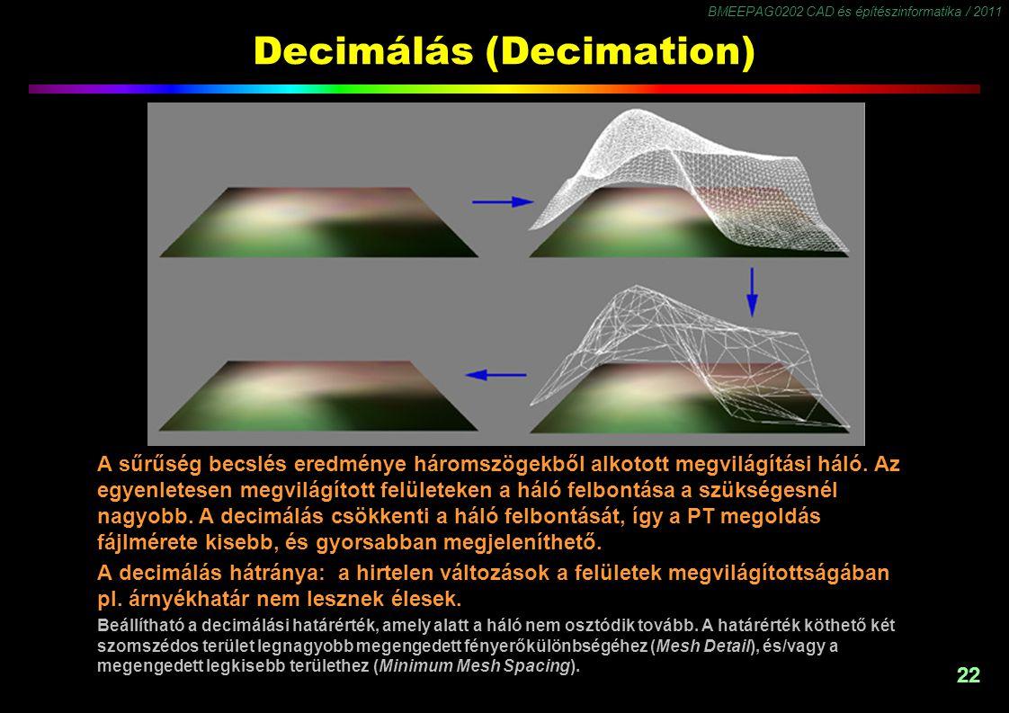 BMEEPAG0202 CAD és építészinformatika / 2011 22 Decimálás (Decimation) A sűrűség becslés eredménye háromszögekből alkotott megvilágítási háló. Az egye