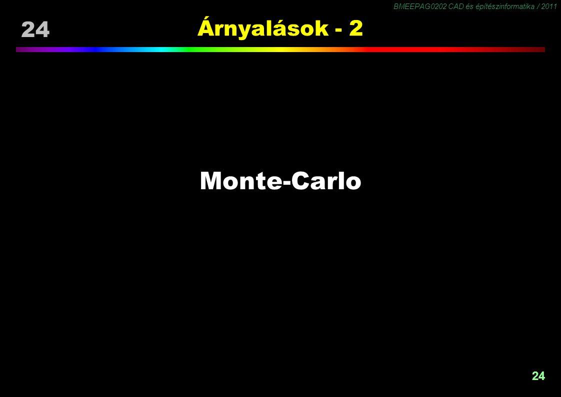 BMEEPAG0202 CAD és építészinformatika / 2011 24 Árnyalások - 2 Monte-Carlo