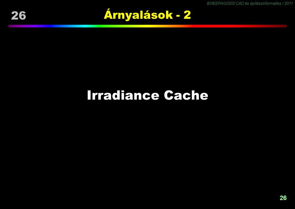 BMEEPAG0202 CAD és építészinformatika / 2011 26 Árnyalások - 2 Irradiance Cache
