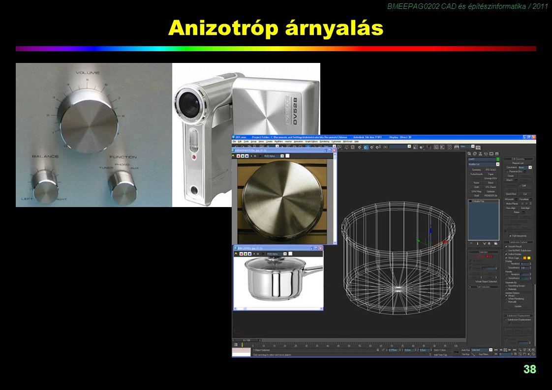 BMEEPAG0202 CAD és építészinformatika / 2011 38 Anizotróp árnyalás