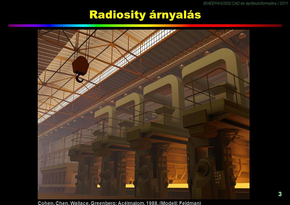 BMEEPAG0202 CAD és építészinformatika / 2011 3 Radiosity árnyalás Cohen, Chen, Wallace, Greenberg: Acélmalom, 1988. (Modell: Feldman)