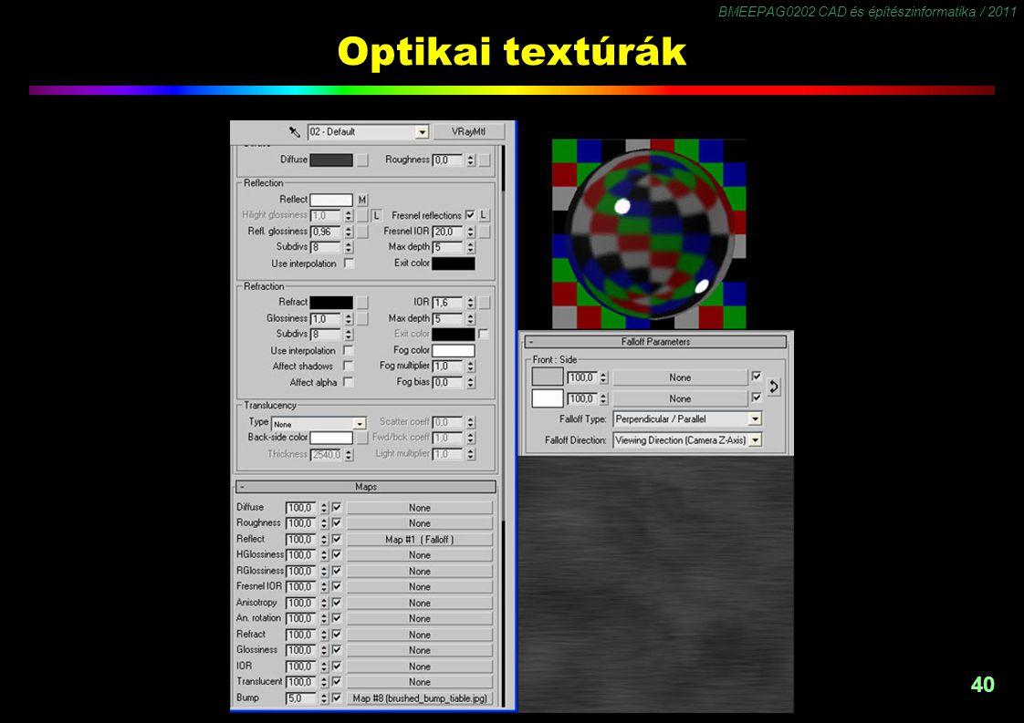 BMEEPAG0202 CAD és építészinformatika / 2011 40 Optikai textúrák