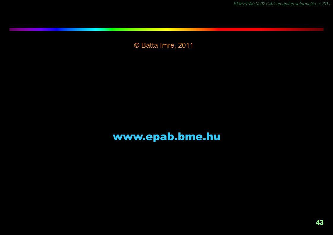 BMEEPAG0202 CAD és építészinformatika / 2011 43 © Batta Imre, 2011 -1,5 www.epab.bme.hu