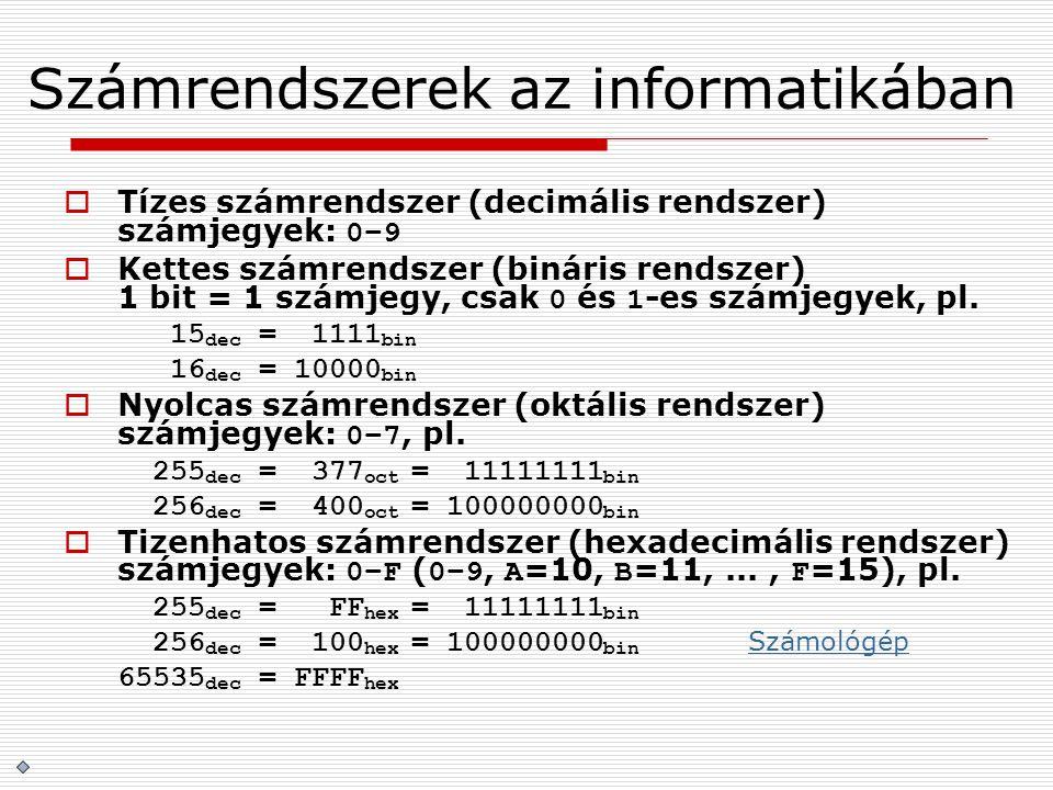 Számrendszerek az informatikában  Tízes számrendszer (decimális rendszer) számjegyek: 0–9  Kettes számrendszer (bináris rendszer) 1 bit = 1 számjegy