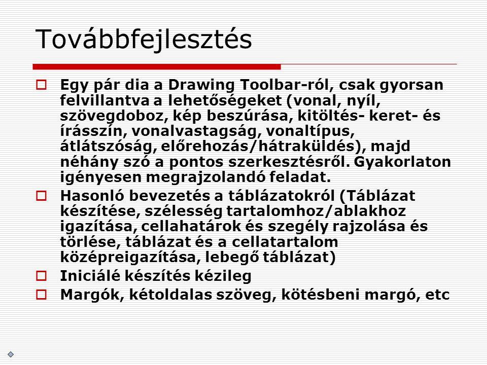 Továbbfejlesztés  Egy pár dia a Drawing Toolbar-ról, csak gyorsan felvillantva a lehetőségeket (vonal, nyíl, szövegdoboz, kép beszúrása, kitöltés- ke