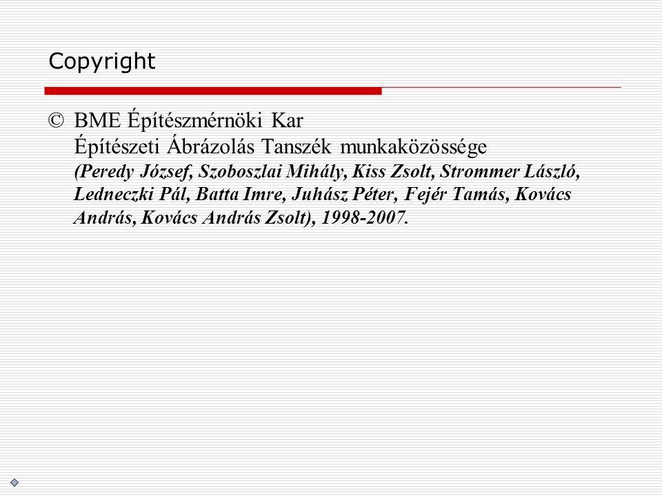 Copyright ©BME Építészmérnöki Kar Építészeti Ábrázolás Tanszék munkaközössége (Peredy József, Szoboszlai Mihály, Kiss Zsolt, Strommer László, Ledneczk