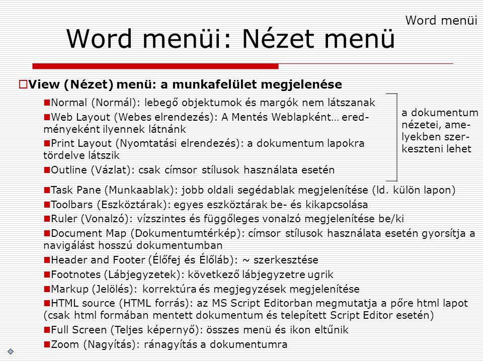 Word menüi: Nézet menü  View (Nézet) menü: a munkafelület megjelenése Normal (Normál): lebegő objektumok és margók nem látszanak Web Layout (Webes el