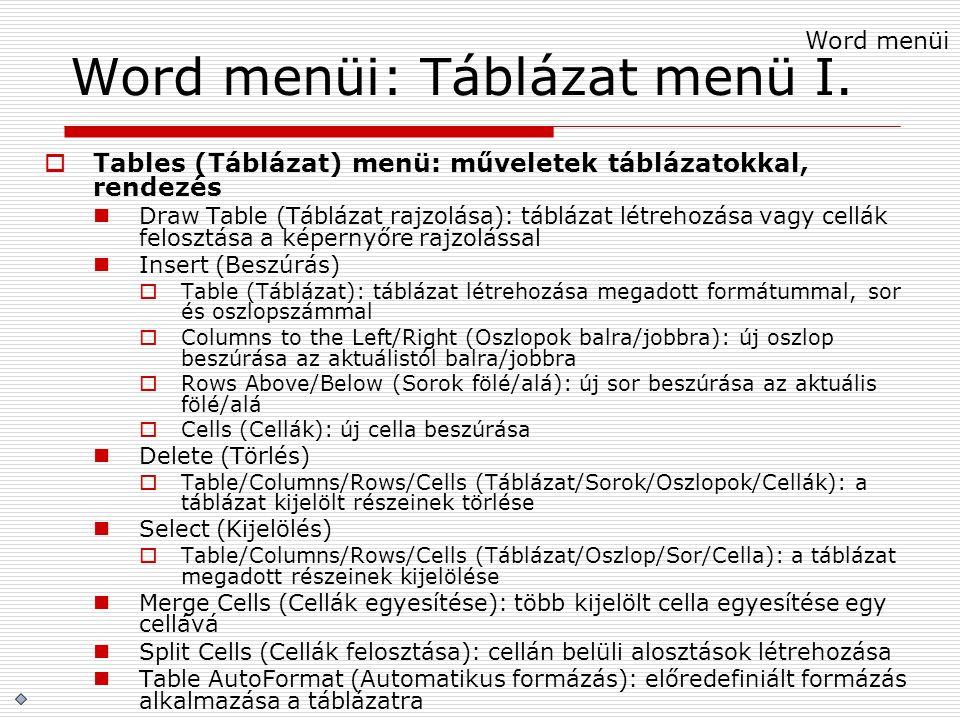 Word menüi: Táblázat menü I.  Tables (Táblázat) menü: műveletek táblázatokkal, rendezés Draw Table (Táblázat rajzolása): táblázat létrehozása vagy ce