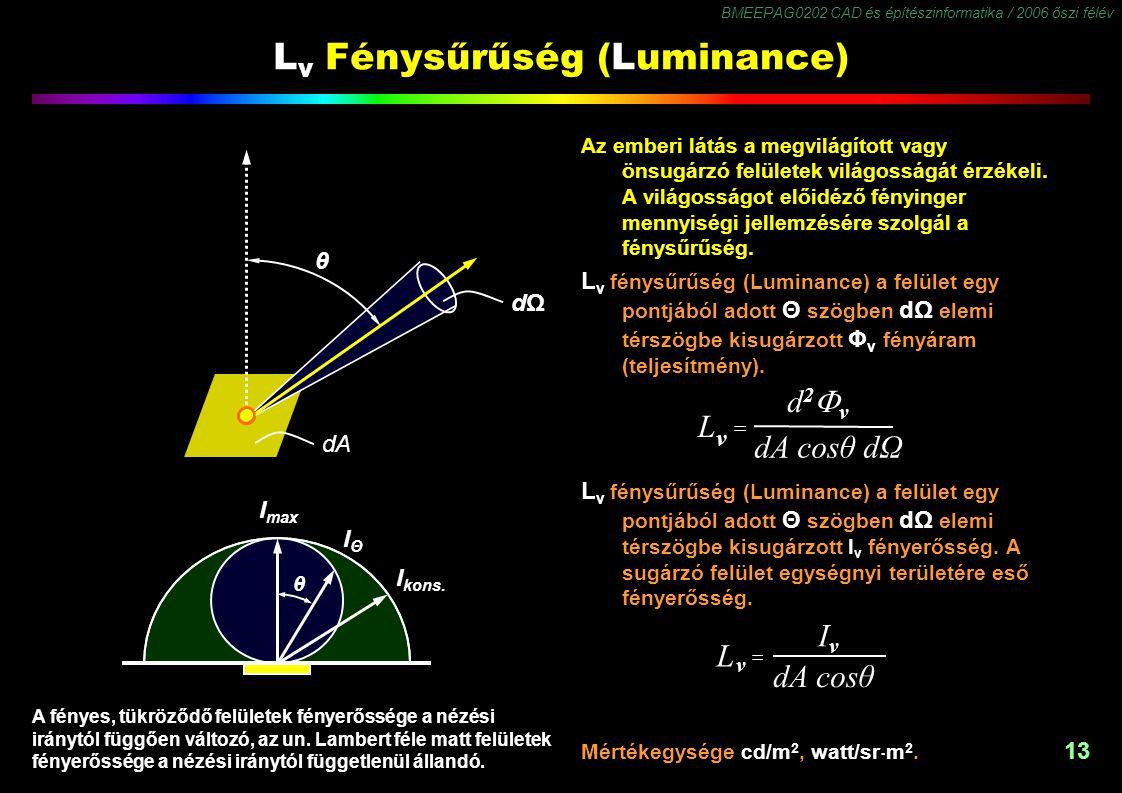 BMEEPAG0202 CAD és építészinformatika / 2006 őszi félév 13 L v Fénysűrűség (Luminance) Az emberi látás a megvilágított vagy önsugárzó felületek világo