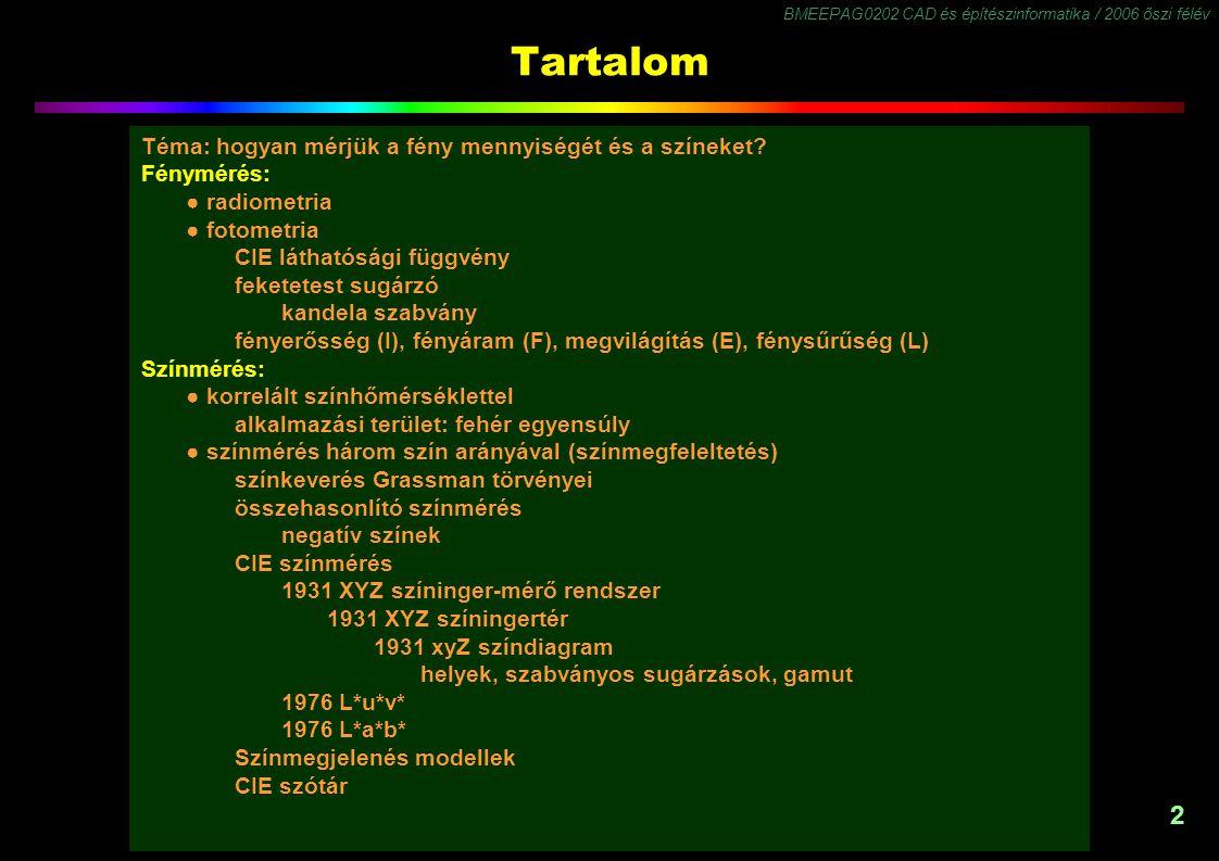 BMEEPAG0202 CAD és építészinformatika / 2006 őszi félév 2 Tartalom Téma: hogyan mérjük a fény mennyiségét és a színeket? Fénymérés: ● radiometria ● fo