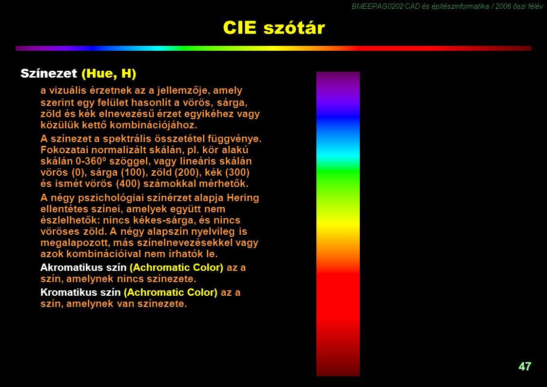 BMEEPAG0202 CAD és építészinformatika / 2006 őszi félév 47 CIE szótár Színezet (Hue, H) a vizuális érzetnek az a jellemzője, amely szerint egy felület