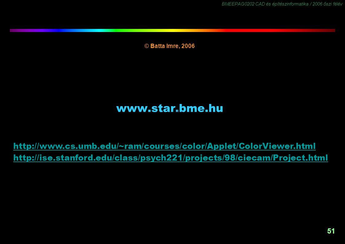 BMEEPAG0202 CAD és építészinformatika / 2006 őszi félév 51 www.star.bme.hu © Batta Imre, 2006 www.star.bme.hu -1,5 http://www.cs.umb.edu/~ram/courses/