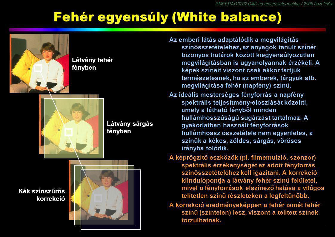 BMEEPAG0202 CAD és építészinformatika / 2006 őszi félév 14 Fehér egyensúly (White balance) Az emberi látás adaptálódik a megvilágítás színösszetételéh
