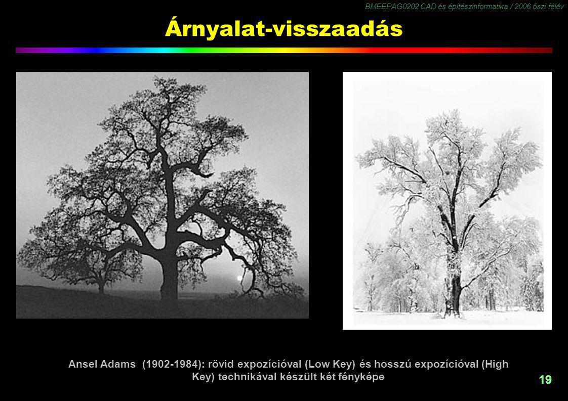 BMEEPAG0202 CAD és építészinformatika / 2006 őszi félév 19 Árnyalat-visszaadás Ansel Adams (1902-1984): rövid expozícióval (Low Key) és hosszú expozíc