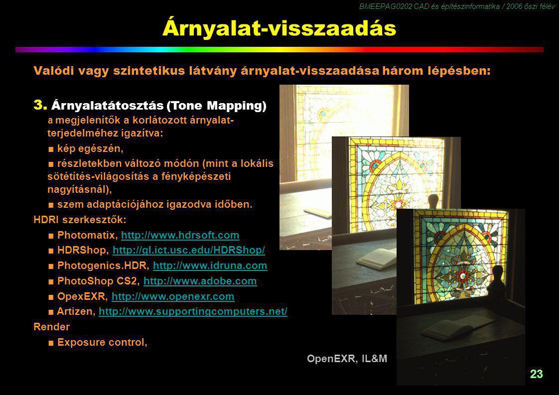 BMEEPAG0202 CAD és építészinformatika / 2006 őszi félév 23 Árnyalat-visszaadás 3. Árnyalatátosztás (Tone Mapping) a megjelenítők a korlátozott árnyala