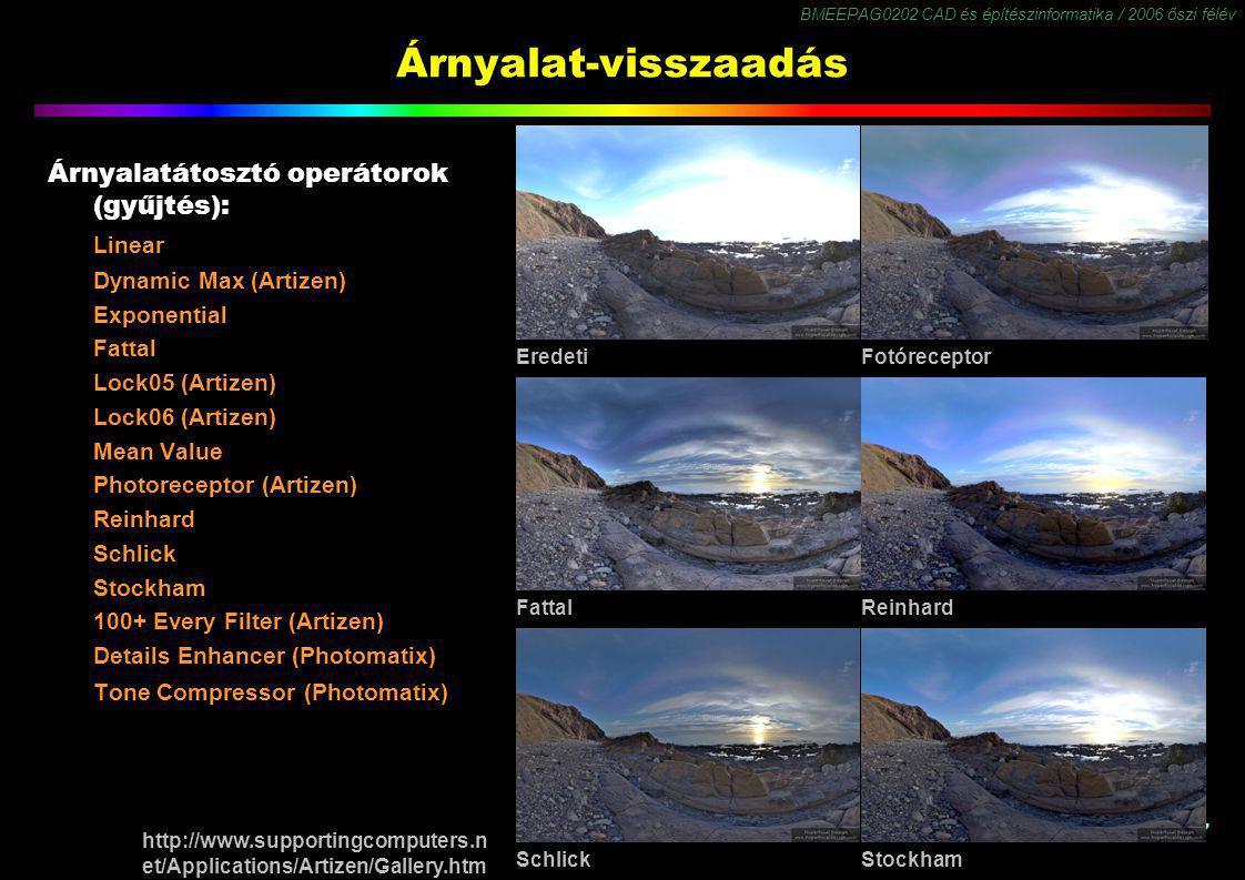BMEEPAG0202 CAD és építészinformatika / 2006 őszi félév 27 Árnyalat-visszaadás Árnyalatátosztó operátorok (gyűjtés): Linear Dynamic Max (Artizen) Expo