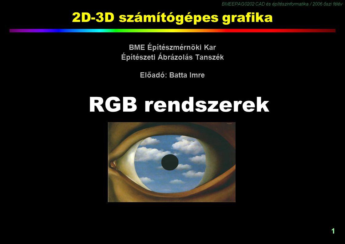 BMEEPAG0202 CAD és építészinformatika / 2006 őszi félév 1 2D-3D számítógépes grafika BME Építészmérnöki Kar Építészeti Ábrázolás Tanszék Előadó: Batta Imre RGB rendszerek