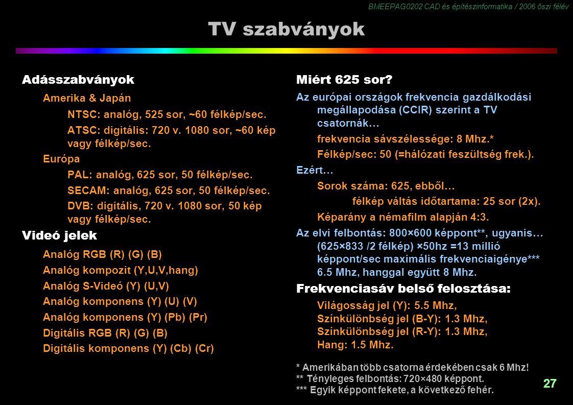 BMEEPAG0202 CAD és építészinformatika / 2006 őszi félév 27 TV szabványok Adásszabványok Amerika & Japán NTSC: analóg, 525 sor, ~60 félkép/sec. ATSC: d