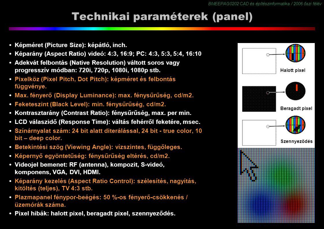BMEEPAG0202 CAD és építészinformatika / 2006 őszi félév 32 Technikai paraméterek (panel) Képméret (Picture Size): képátló, inch. Képarány (Aspect Rati