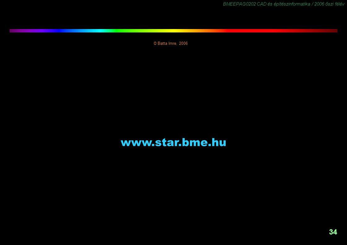 BMEEPAG0202 CAD és építészinformatika / 2006 őszi félév 34 © Batta Imre, 2006 www.star.bme.hu