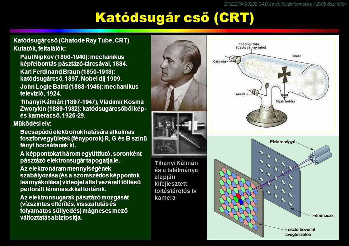 BMEEPAG0202 CAD és építészinformatika / 2006 őszi félév 7 Katódsugár cső (CRT) Katódsugár cső (Chatode Ray Tube, CRT) Kutatók, feltalálók: Paul Nipkov