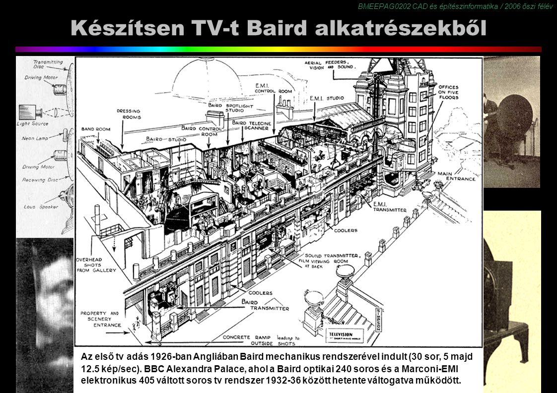 BMEEPAG0202 CAD és építészinformatika / 2006 őszi félév 8 Készítsen TV-t Baird alkatrészekből Mechanikus televízió Az első tv adás 1926-ban Angliában Baird mechanikus rendszerével indult (30 sor, 5 majd 12.5 kép/sec).