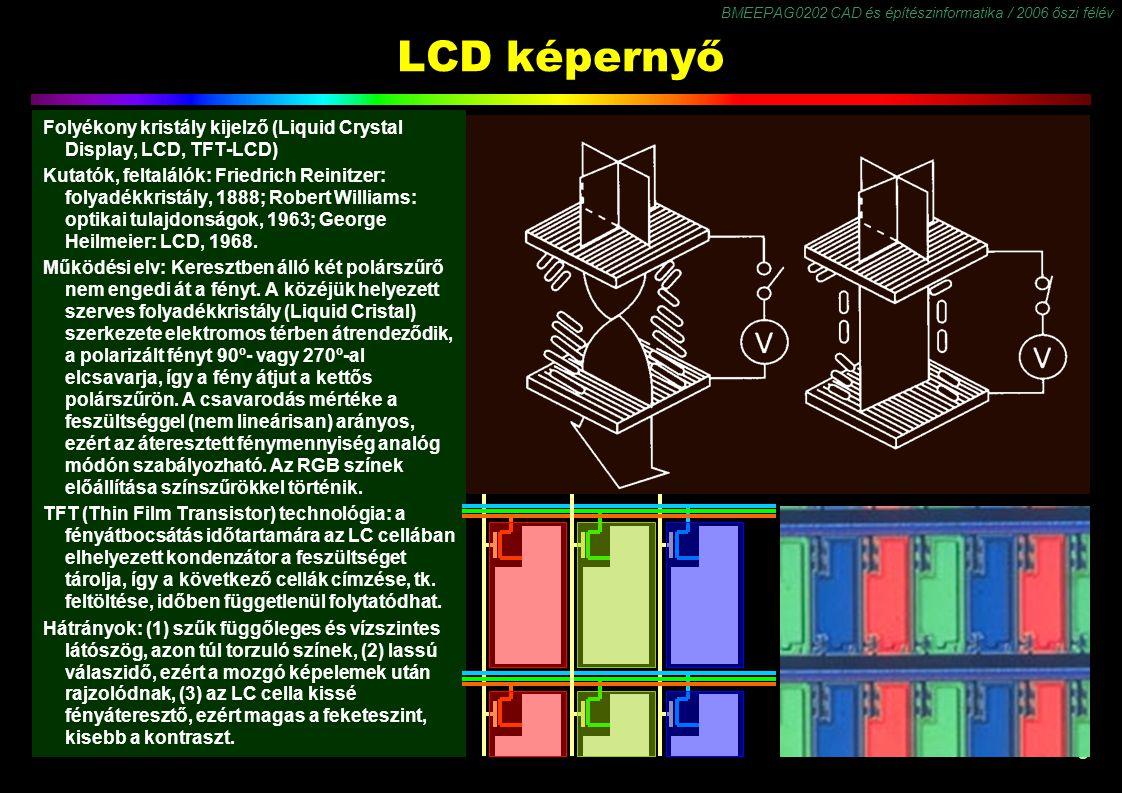 BMEEPAG0202 CAD és építészinformatika / 2006 őszi félév 9 LCD képernyő Folyékony kristály kijelző (Liquid Crystal Display, LCD, TFT-LCD) Kutatók, feltalálók: Friedrich Reinitzer: folyadékkristály, 1888; Robert WiIIiams: optikai tulajdonságok, 1963; George Heilmeier: LCD, 1968.