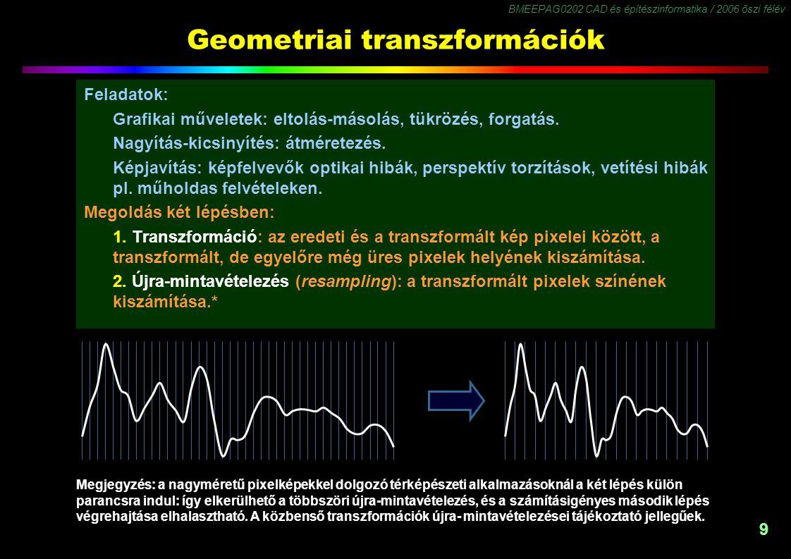 BMEEPAG0202 CAD és építészinformatika / 2006 őszi félév 9 Geometriai transzformációk Feladatok: Grafikai műveletek: eltolás-másolás, tükrözés, forgatá