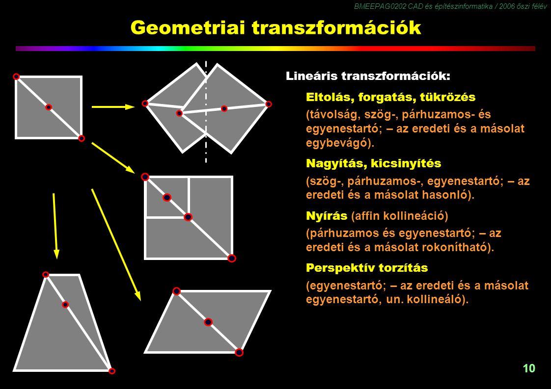 BMEEPAG0202 CAD és építészinformatika / 2006 őszi félév 10 Geometriai transzformációk Lineáris transzformációk: Eltolás, forgatás, tükrözés (távolság, szög-, párhuzamos- és egyenestartó; – az eredeti és a másolat egybevágó).