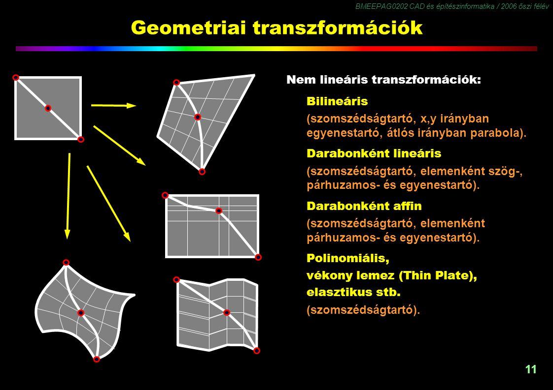 BMEEPAG0202 CAD és építészinformatika / 2006 őszi félév 11 Geometriai transzformációk Nem lineáris transzformációk: Bilineáris (szomszédságtartó, x,y irányban egyenestartó, átlós irányban parabola).