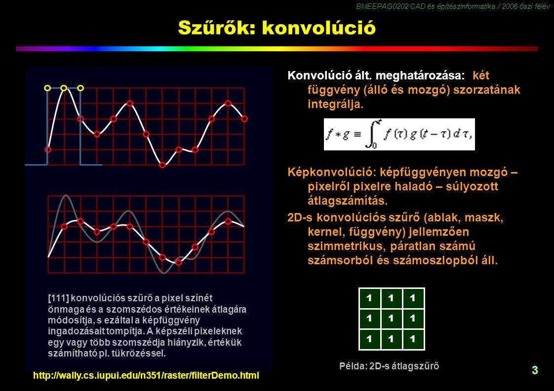 BMEEPAG0202 CAD és építészinformatika / 2006 őszi félév 3 Szűrők: konvolúció Konvolúció ált. meghatározása: két függvény (álló és mozgó) szorzatának i